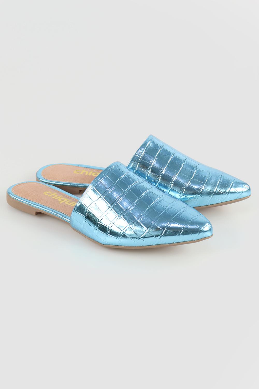 Mule Chiqui Bico Fino Croco Light Blue AC