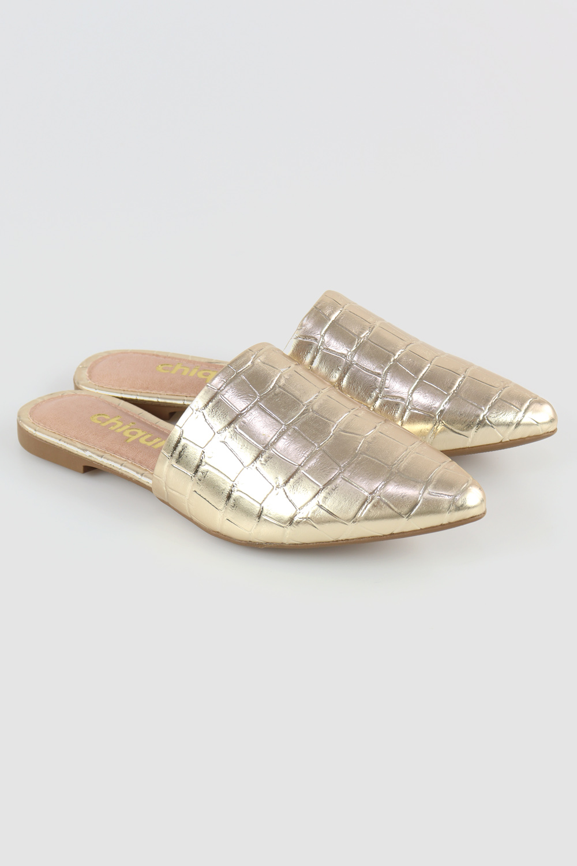 Mule Chiqui Bico Fino Croco Metalizado Ouro AC