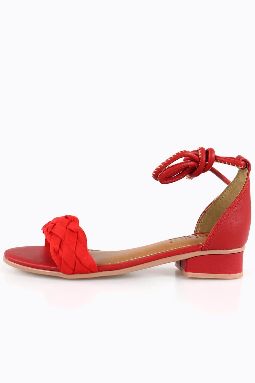 Sandália Chiqui Salto Baixo Trança Napa/Camurça Scarlet