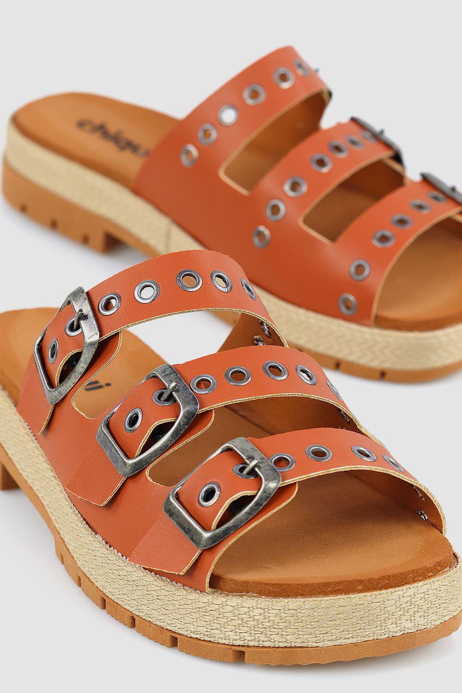Sandália Chiqui Flatform 3 Fivelas Napa Rust