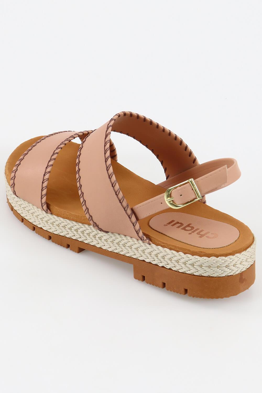 Sandália Chiqui Flatform Detalhe Costurada Napa Soft Antique