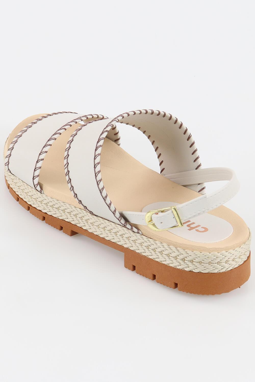 Sandália Chiqui Flatform Detalhe Costurada Napa Soft Linho