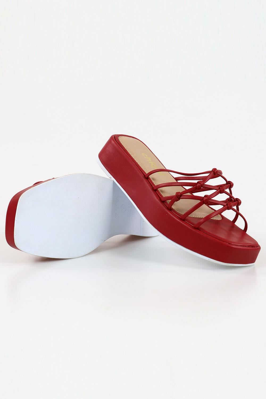 Sandália Chiqui Flatform Tira Nó Napa Scarlet AC
