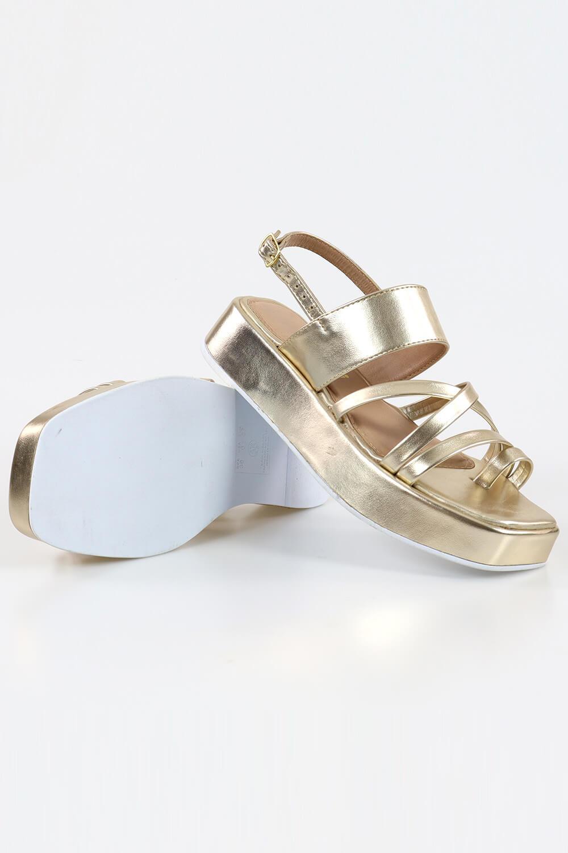 Sandália Chiqui Flatform Tiras Metalizado Champagne AC