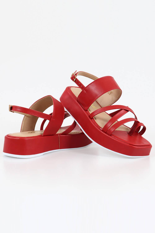 Sandália Chiqui Flatform Tiras Napa Scarlet AC