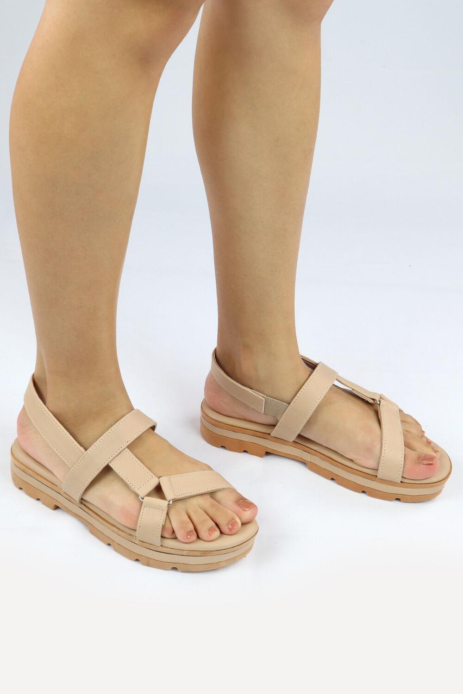 Sandália Chiqui Flatform Triângulo Napa Pele