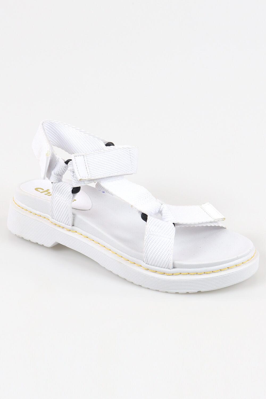 Sandália Chiqui Papete Velcro Gorgurão Branco AC