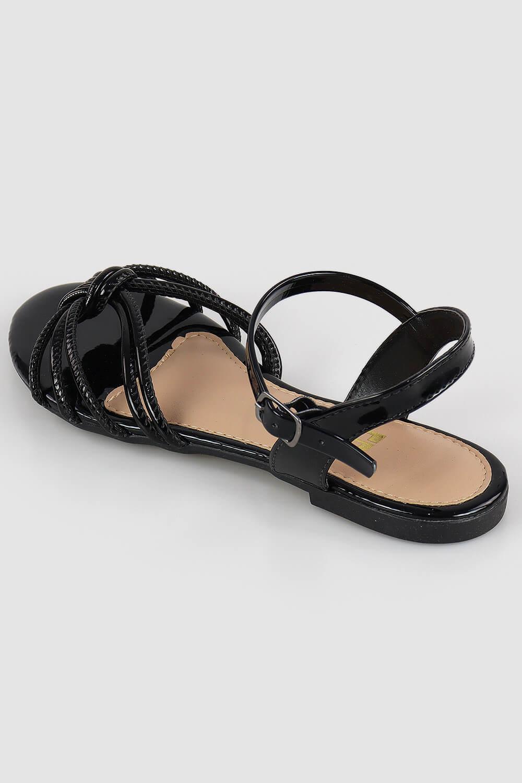 Sandália Chiqui Rasteira Tira Costurada Verniz Preto AC