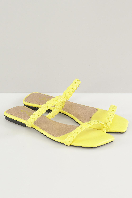 Sandália Chiqui Rasteira Tira Napa Amarelo AC