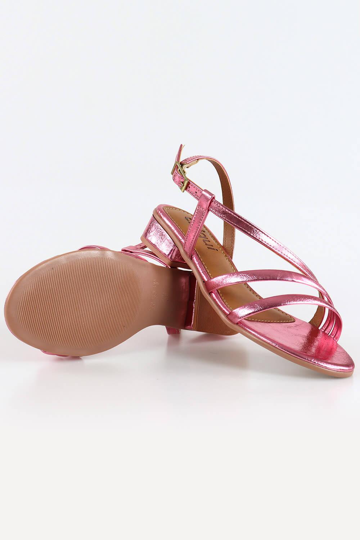 Sandália Chiqui Salto Baixo Tiras Napa/Metalizado Rosa Claro