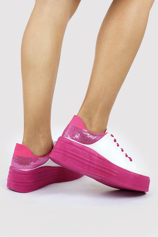 Tênis Chiqui Casual Lantejoula Nobuck Branco/Pink