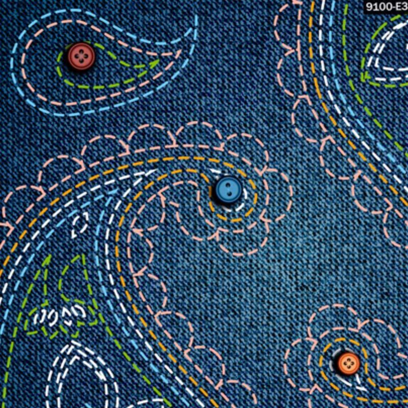 1000 Tons Coleção Digital Art Jeans - 50cm x 150cm