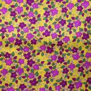 Chita Floral Rosa e Roxo Fundo Amarelo