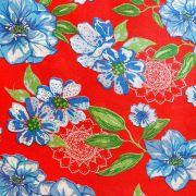 Chita Floral Azul Fundo Vermelho