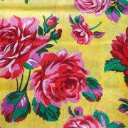 Chita Floral Rosa Fundo Amarelo