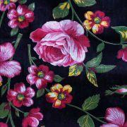 Chita Floral Rosa Fundo Preto