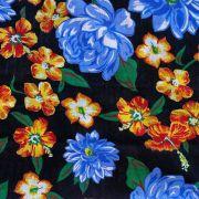 Chita Floral Azul Fundo Preto