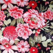 Chita Floral Vermelho Fundo Preto