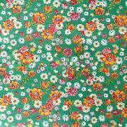 Chita Floral Laranja Pequeno Fundo Verde