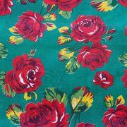 Chita Floral Vermelho Fundo Verde Escuro