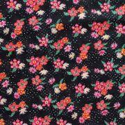 Chita Floral Pequeno Rosa Fundo Preto