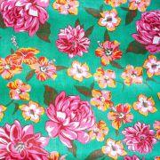 Chita Floral Rosa e Laranja Fundo Verde