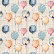 Estampa Animais na Floresta Balões