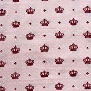 Estampa Coroa Fundo Rosa Claro