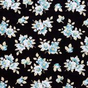 Estampa Floral Azul Fundo Preto