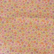 Estampa Floral Rosa e Lilás - Fundo Rosa Claro