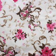 Estampa Floral Rosa e Marrom Fundo Bege