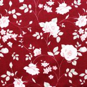 Estampa Floral Rosa Fundo Bordô