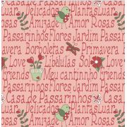 Estampa Garden Letras Rosa