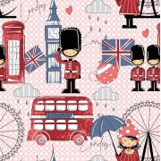 Estampa Londres Fundo Poá Rosa e Branco
