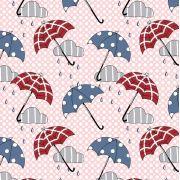 Estampa Londres Umbrella Fundo Poá Rosa e Branco