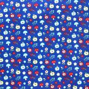 Estampa Maça e Cogumelos Fundo Azul