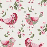 Estampa Pássaros Fundo Bege