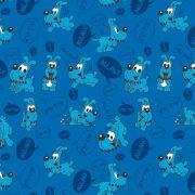 Estampa Turma da Mônica Bidu Fundo Azul