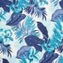 Tecido Gorgurão Estampado - Folhagem Azul - 50cm X140cm