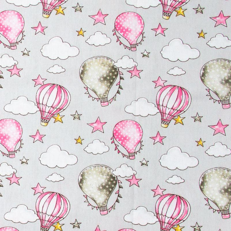 Caldeira - Balões Rosa/Cinza Escuro Com Fundo Cinza Claro - 50cm x 150cm