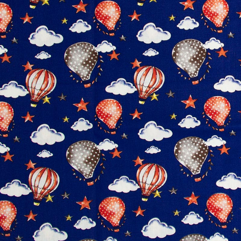 Caldeira Coleção Circus - Estampa Ballon Azul Com Vermelho - 50cm x 150cm