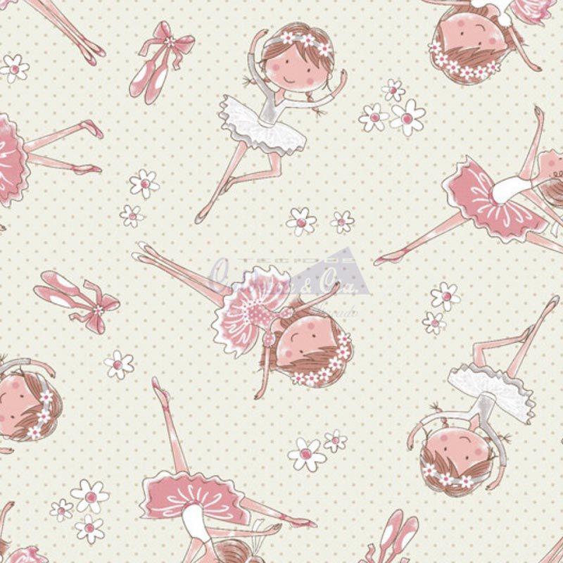 Caldeira Coleção Conto de Fadas - Estampa Bailarina Creme com Rosa - 50cm x 150cm