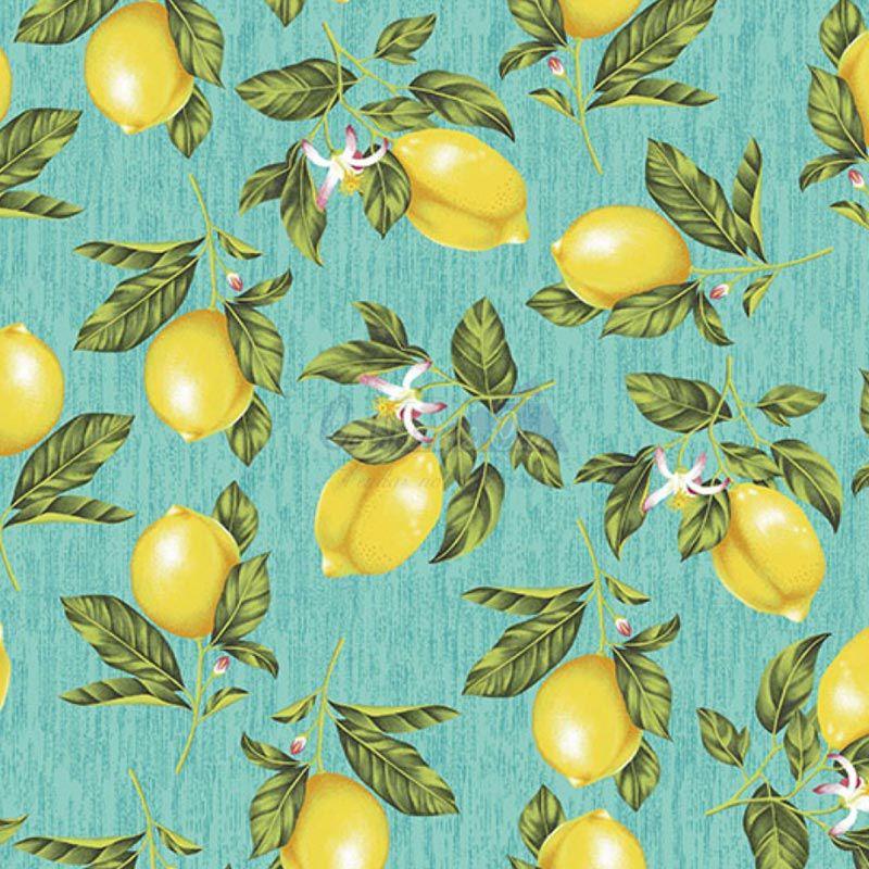 Caldeira Coleção Fruits - Estampa Limão Azul - 50cm x 150cm