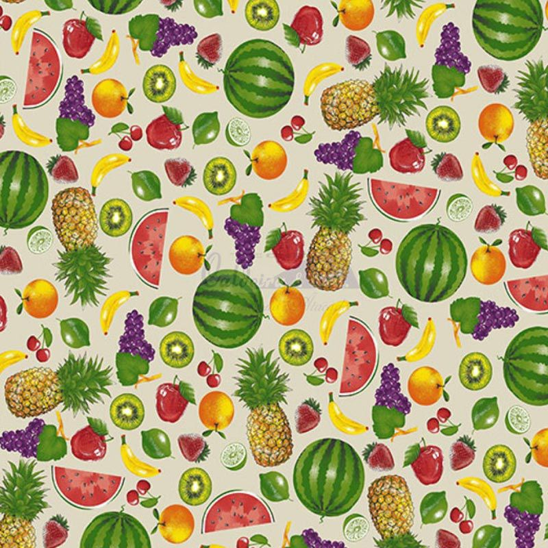 Caldeira Coleção Fruits - Estampa Salada de Frutas Bege - 50cm x 150cm