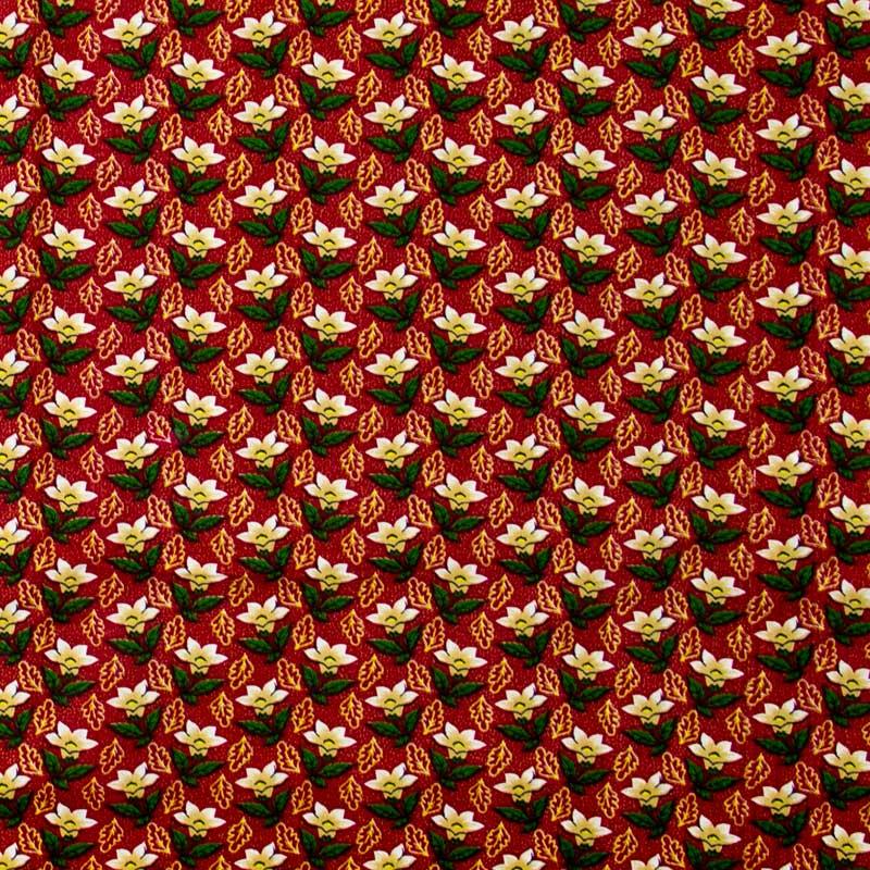 Caldeira - Coleção Natal - Flores de Natal Fundo Vermelho - 50cm X150cm