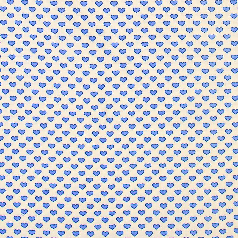 Caldeira - Corações Azul Com Fundo Bege - 50cm x 150cm