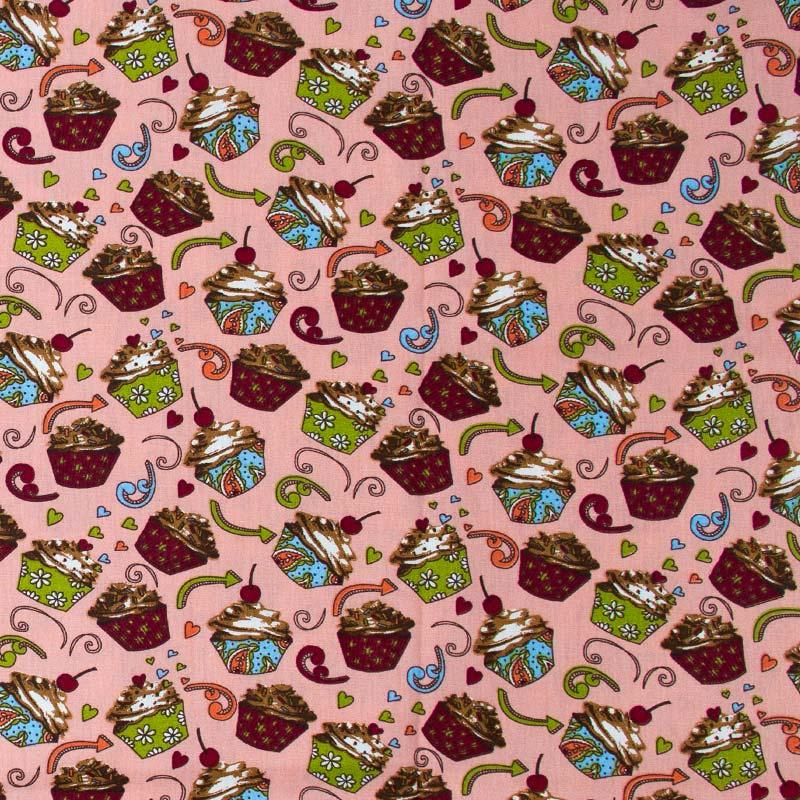 Caldeira - Cupcake Fundo Rosa - 50cm x 150cm
