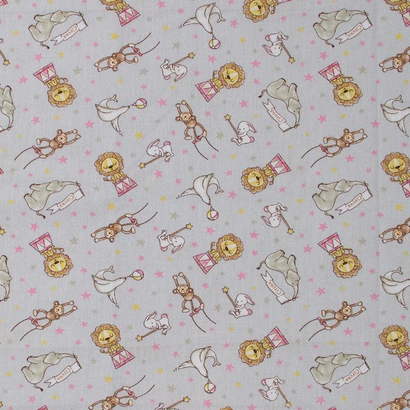 Caldeira - Animais do Circo Rosa Fundo Cinza - 50cm x 150cm