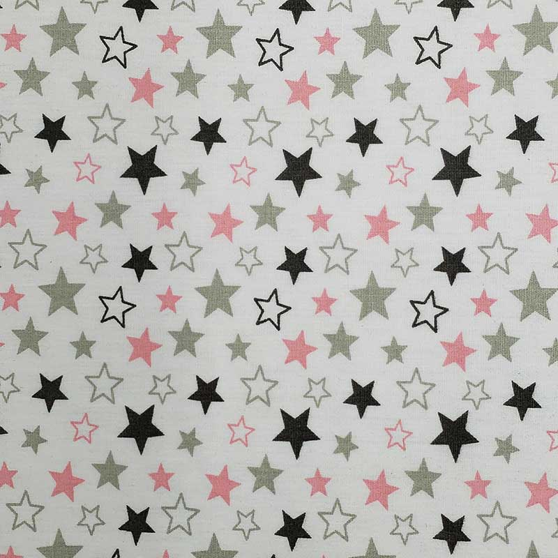 Caldeira - Estampa Estrelas Rosa e Cinza - 50cm x 150cm