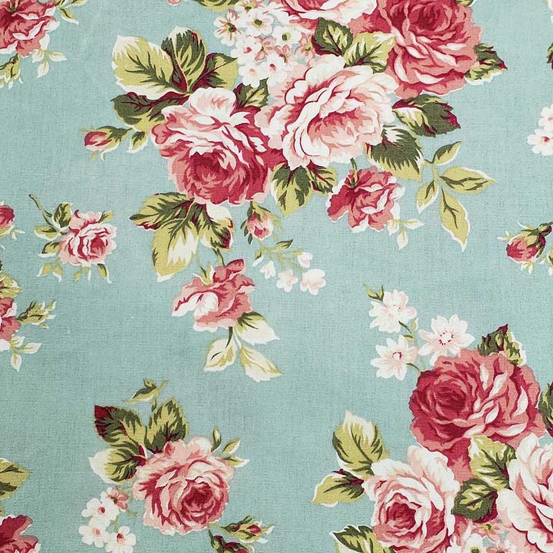 Caldeira - Estampa Floral Fundo Verde - 50cm x 150cm